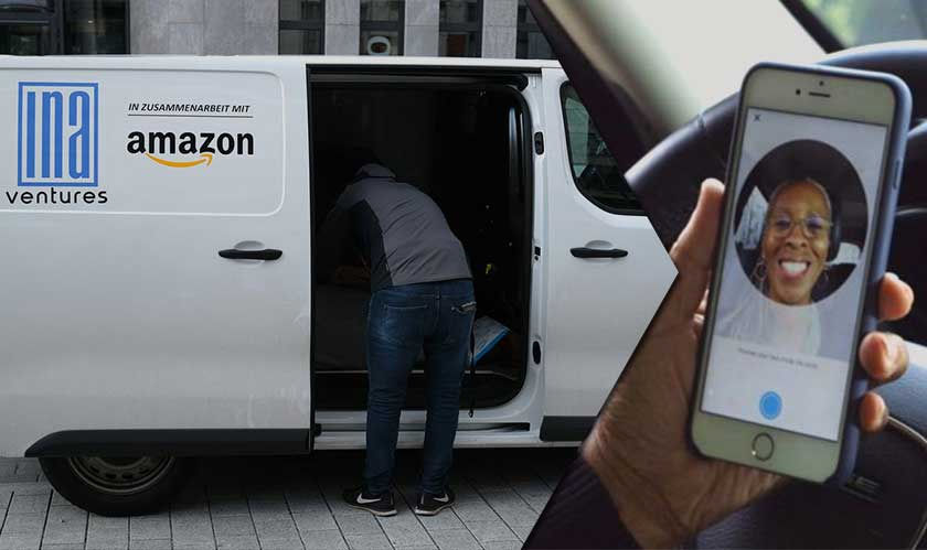 amazon delivery driver take selfie