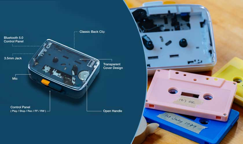 cassette tape back with advanced features