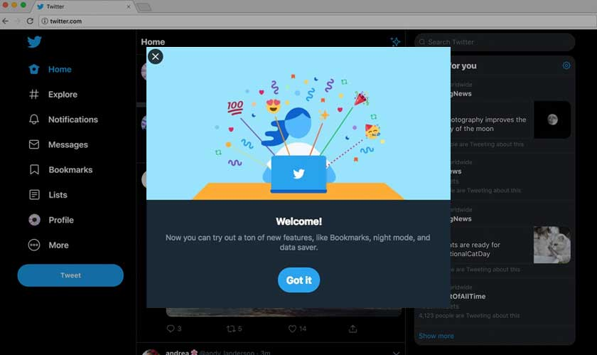 twitter redesign desktop